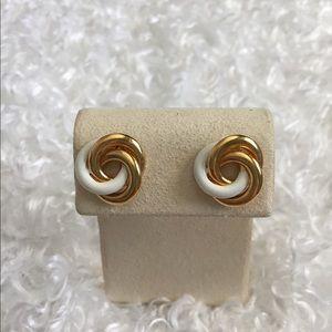 Gold Tone/White Earrings, Vintage.EUC